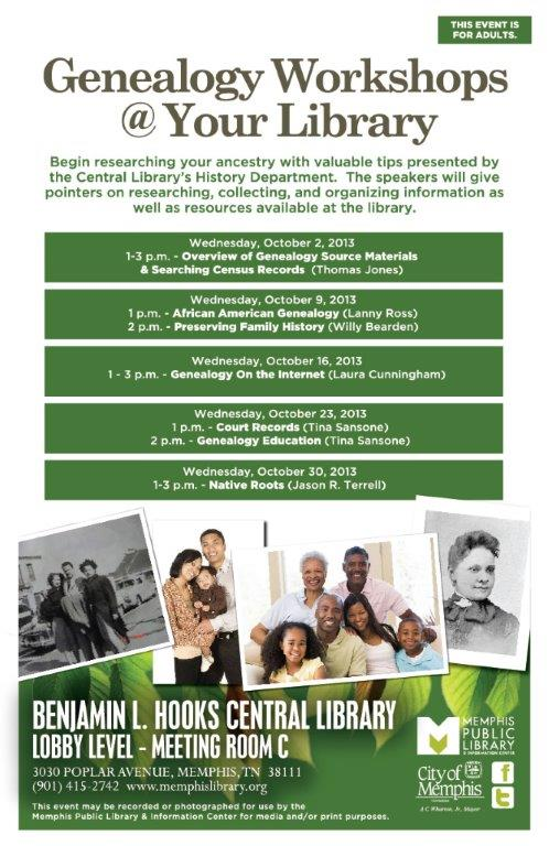 Schedule of October Genealogy Workshops